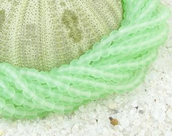 4mm Light Peridot Green 100 Round Beads Frosted Matte Seaglass Style Sea Glass Beads Beachglass Style Beach Glass Beads