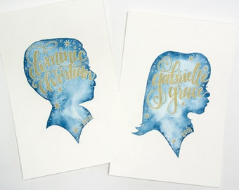 Watercolor Profiles with Hand-Lettered Names