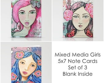 Mixed Media Girl Note Cards Set of 3