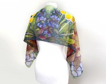 Slim silk scarf - hand painted scarves - floral scarf botanist gift - flowers spring accessories - bugle weed dandelion pansy begonia leafs