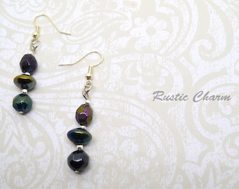 Dark iridescent Glass Dangle Earrings with Silver Accents