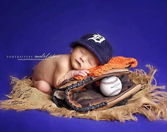 Newborn Baby Baseball Cap, Baseball Hat, Detroit Tigers ,Custom Made to Order