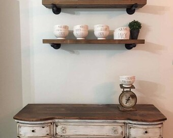Rustic Industrial Farmhouse Pipe Shelves