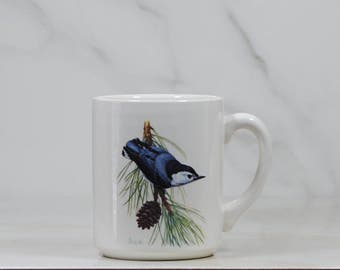 Vintage Coffee Cup 1986, National Wildlife Federation, White-Breasted Nuthatch, Sitta carolinensis, 31115, Birds, Drinking Cup, Wildlife