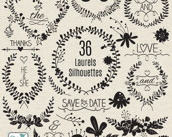 Wedding Laurels Silhouettes Clipart, Wedding Wreaths, Black Wedding Silhouettes Clip Art, Laurels and Wreaths - Instant Downlo