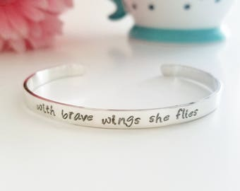 With Brave Wings She Flies Inspirational Bracelet - Sterling Silver - Inspirational Bracelet - Handstamped Cuff - Inspirational Jewelry