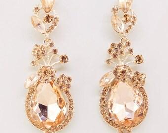 Crystal Bridal Earrings,Rosegold Blush Chandelier Earrings,Bridesmaid Wedding Gift Jewelry,Rose Gold Earrings,Blush Statement Earrings