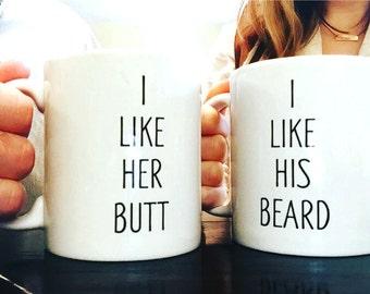 Couples Coffee Mug Set-Wedding Gifts-His and Hers Coffee Mugs-Mugs-Coffee Cups-Grooms Gifts-Brides Gifts