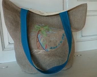 Beach bag, embroidered linen tote bag