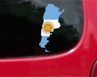 2 Pieces Argentina  Outline Map Flag Vinyl Decals Stickers Full Color/Weather Proof. U.S.A Free Shipping