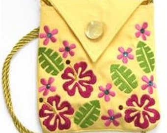 Hibiscus Embroidered Purse