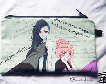 Bubbline Zippered Pouch - Clutch bag Purse Wristlet - adventure time Cosmetic pencil school - Bianca Loran Art