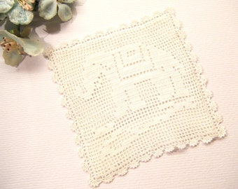 """Little Vintage Cross Stitch Style  ELEPHANT Lace Square, 3 7/8"""",  ANIMAL CHARITY Donation"""