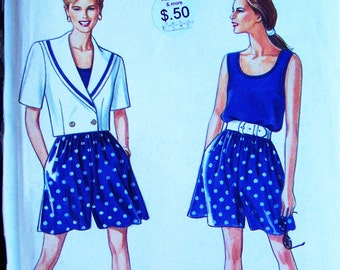 Pattern Simplicity 7790 multi sized Misses shorts and Tank top and Jacket seven sizes in one