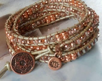 Shimmery Pewter Leather & Copper Beaded Bracelet