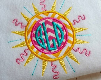Applique monogram sun machine embroidery instant download design, appliqué circle frame, summer time fun sun design