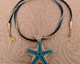 Turquoise Colored and Gold Starfish Beaded Necklace