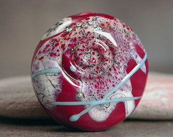 Artisan Glass Focal Bead, Lampwork Focal Bead, Red Lampwork, Divine Spark Designs, SRA