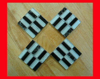 Handmade Tile Coasters Manhattan Series Black and White with Silver Grout on Acrylic Bases
