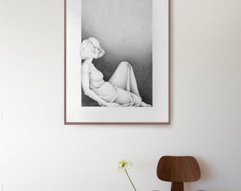 Large pencil drawing, modern female pencil art, pencil art, original drawing, art drawings, drawing, large wall art, modern art, unique art