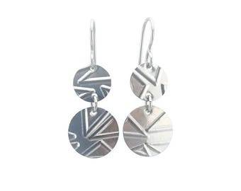 Niobium Double Disc Earrings, Geo Patterned Niobium Disc Titanium Earrings, Embossed Disk Earrings for Sensitive Ears, Geometric Triangles