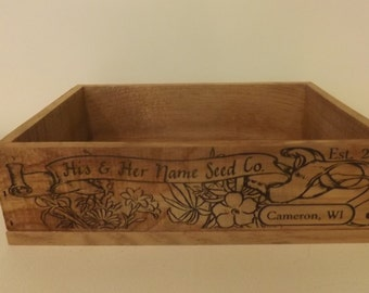 Seed Packet Wedding Crate. Personalized. Vintage Style. Aged Wood