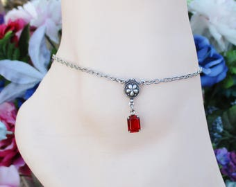 Women's Anklets Silver Ankle Bracelet Rhinestone Jewelry January Birthstone Adjustable Anklet Gift Boxed
