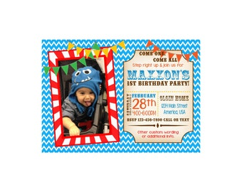 Circus Carnival Photo First BIrthday Invitation