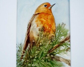 Robin painting, ORIGINAL watercolor,  mat INCLUDED.