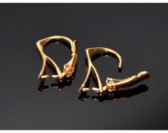 1-10 Pairs Gold Plated Leverback Earrings 18 mm, ear hooks for Teardrop Swarovski Elements, gold plated earwires, The more, the cheaper