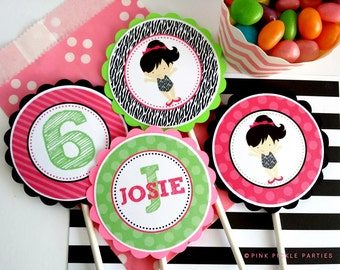 Gymnastics Cupcake Toppers, DIY Cupcake Toppers, Printable Cupcake Toppers, Party Circles :No.406