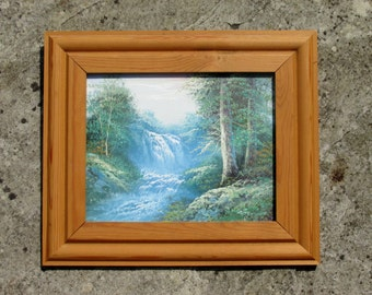 1980s Framed Oil Painting of a Waterfall Original Art Wall Hanging Home Decor