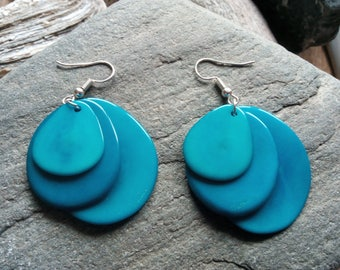 1337 - earrings turquoise blue tagua or vegetable ivory