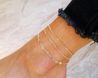 Rose Gold Anklet, Rose Gold Jewelry, Anklets for Women, Layered Anklet, Rose Gold Anklets, Satellite Anklet