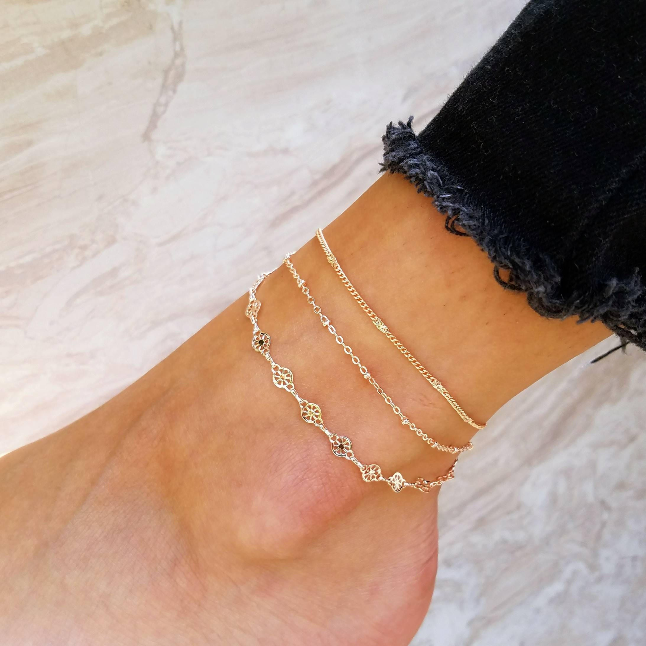 anklet from starfish plated peru silver sterling gold women for p novica moonlit anklets