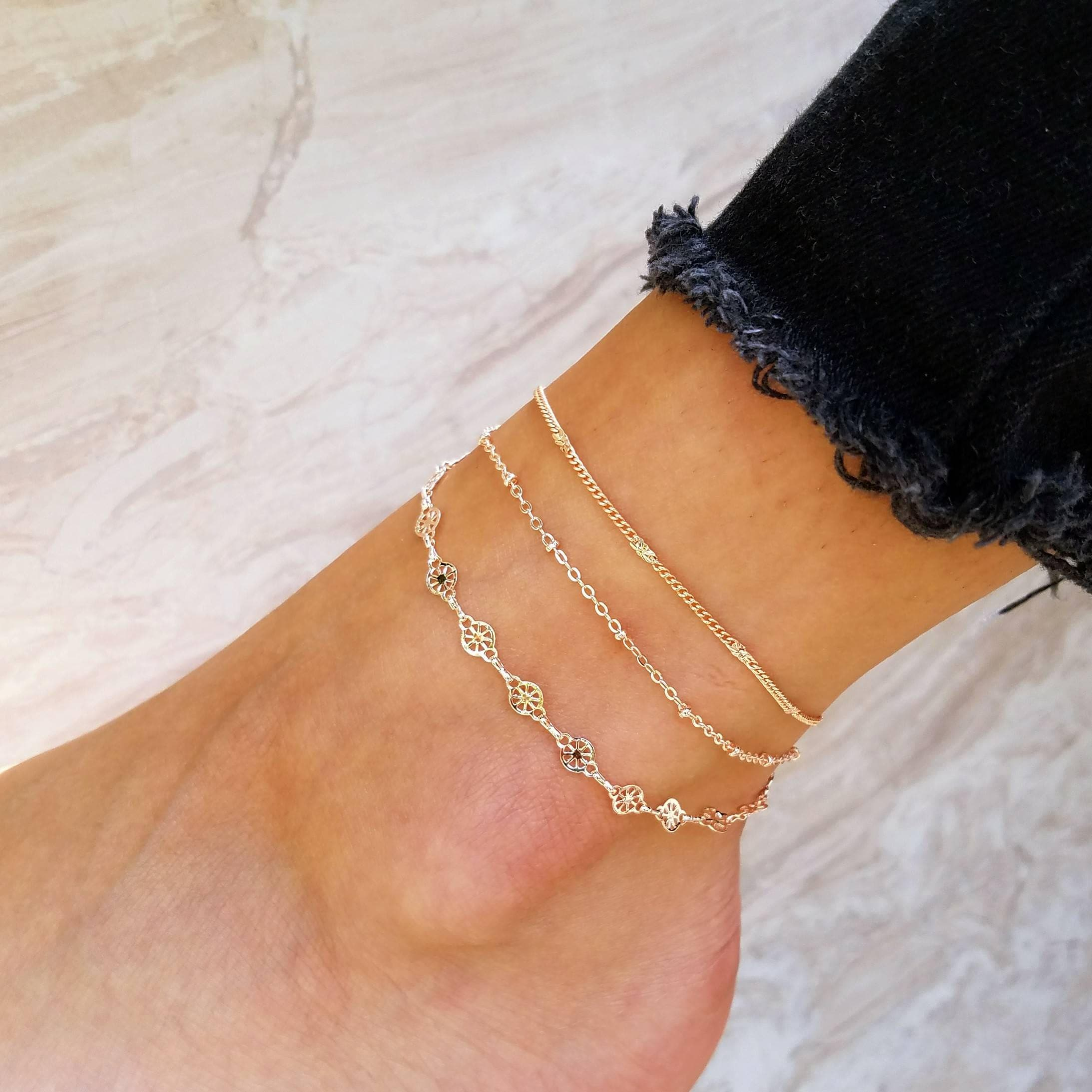 fullxfull jewelry women chain gold ankle anklets slave satellite il for body bracelet anklet c