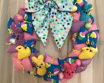 Easter Peep Puff Pillow Wreath