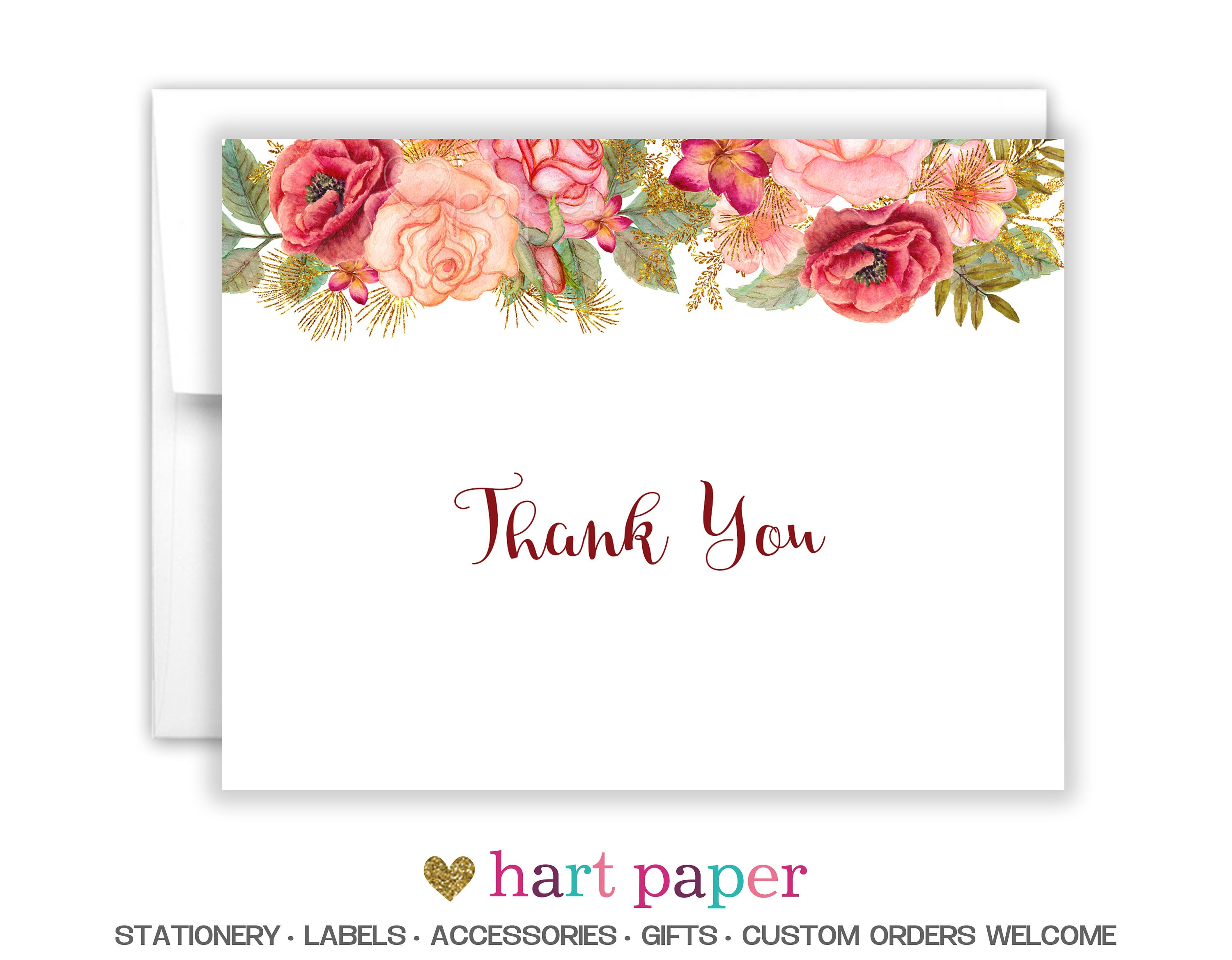 Flowers funeral printed thank you cards folded flat note card zoom izmirmasajfo
