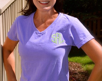 Monogrammed Ladies Vee Neck--NEW from COMFORT COLORS