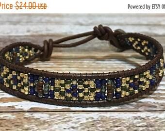SALE Bohemian Bracelet / Leather Wrap Bracelet / Bead Loom Bracelet / Chan Luu Style / Seed Bead Bracelet