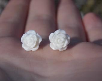 Dainty Rose Earrings - White, Black or Red