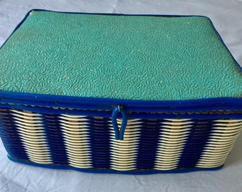 Vintage 1930's plastic blue and white wicker sewing basket/box