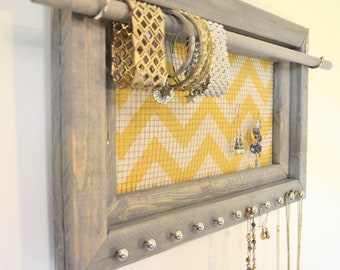 Jewelry organizer - yellow chevron, jewelry display, handmade jewelry frame