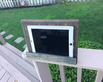Dark Walnut Stained Wood Board Ipad and Tablet Stand
