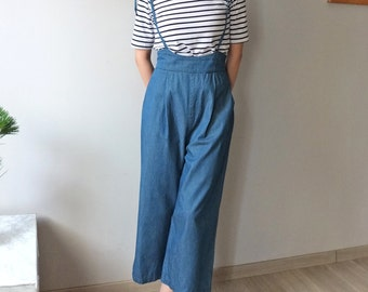 chambray cotton jumper /overall/ jumpsuit with spaghetti ribbon strap