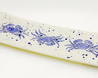 Platter. Crab. Maryland Crab. Blue Crab Rectangular Platter. Sea. Handmade by Sara Hunter