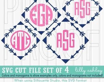 Monogram SVG Files Set of 4 cutting files {SVG/PNG/jpg formats} Arrow svg arrow monogram arrow hearts {colors/monograms not included}