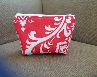 essential oil bag coral damask and blue chevron essential oil bag, essential oil clutch, essential oil travel bag,