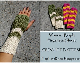 CROCHET PATTERN - Women's Ripple Fingerless Gloves, Crochet Ripple Pattern, Crochet Fingerless Gloves, Glove Crochet Pattern