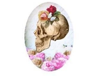 Skull Head, 18x25mm flat cabochon